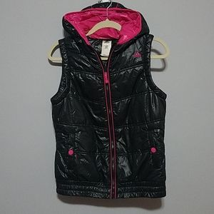 Adidas Black and Pink Bomber Shiny Vest